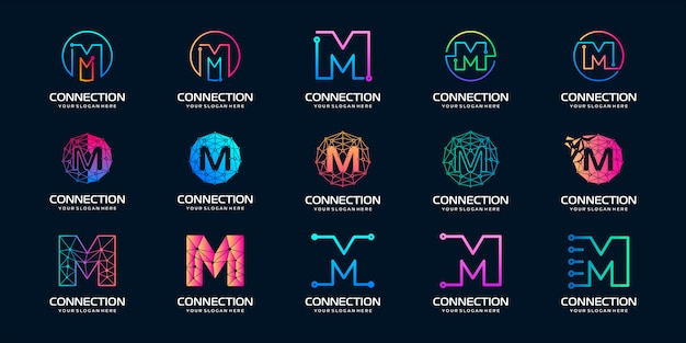Set of creative letter m modern digital technology logo . the logo can be used for technology, digital, connection, electric company. Premium Vector