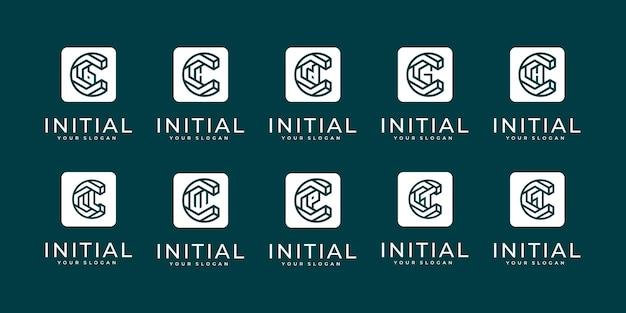 Set of creative letter mark monogram letter c and etc logo template. Premium Vector