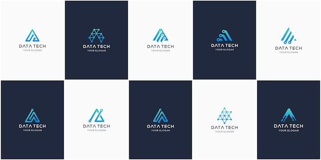 Set of creative letter a, modern digital technology logo. Premium Vector
