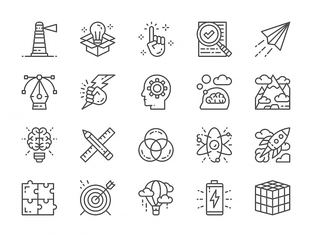 Set of creative line icons. checklist, paper plane, innovation, battery and more Premium Vector