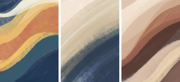 Set of creative minimalist hand painted. abstract arts background. Premium Vector