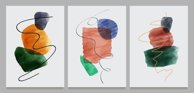 Set of creative minimalist hand painted illustrations Premium Vector