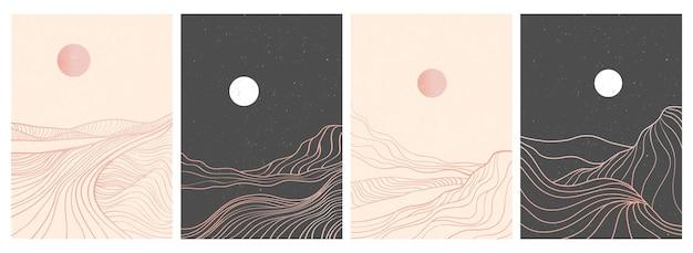 Set of creative minimalist modern line art print. abstract mountain contemporary aesthetic landscape