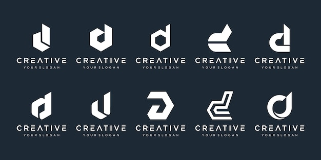 Set of creative monogram letter d logo design template. the logo can be used for building company. Premium Vector