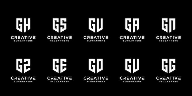 Set of creative monogram letter g logo design template Premium Vector