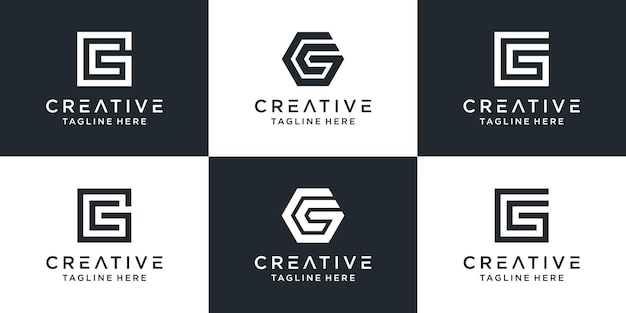 Set of creative monogram letter gc logo template. the logo can be used for business and building company. Premium Vector