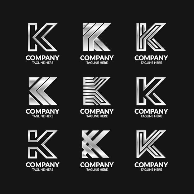 Set of creative monogram letter k logo template
