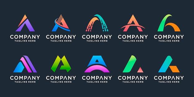 Set of creative monogram letter a logo  template. Premium Vector
