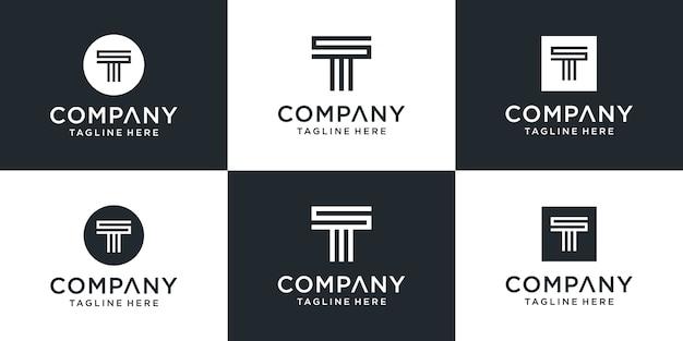 Set of creative monogram letter t logo design inspiration Premium Vector