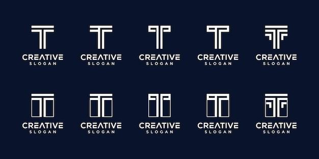 Set of creative monogram logo letter t template Premium Vector
