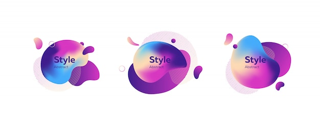 Set of creative multi-colored bubble-shaped objects banner Free Vector