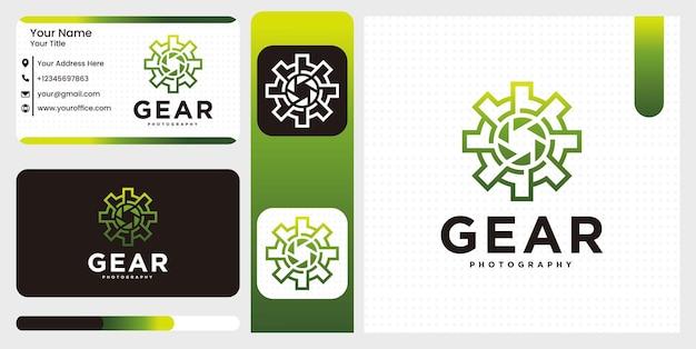 Set creative tech gear photography studio logo template Premium Vector