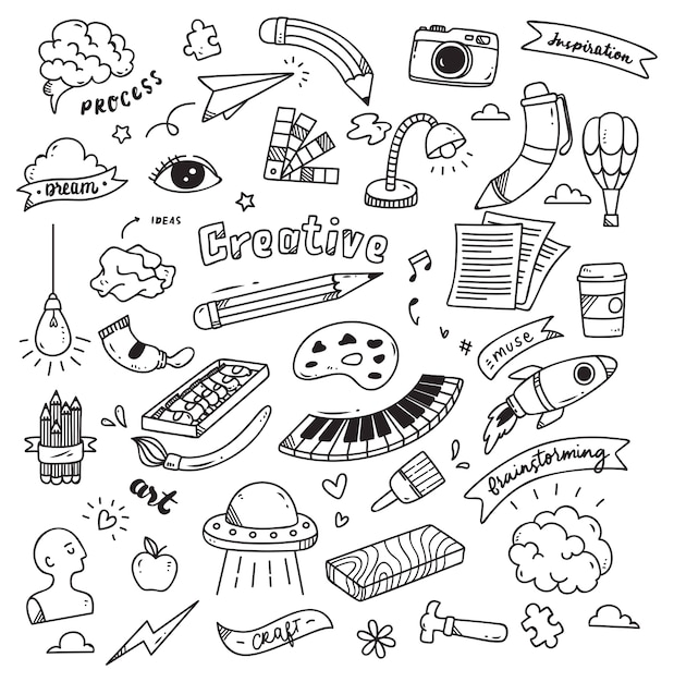 Set of creativity doodle isolated on white background Premium Vector