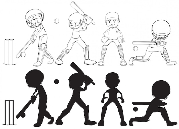 Set of cricket player character Free Vector