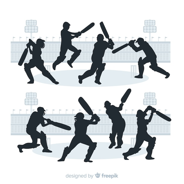Set of cricket players with silhouette style Free Vector