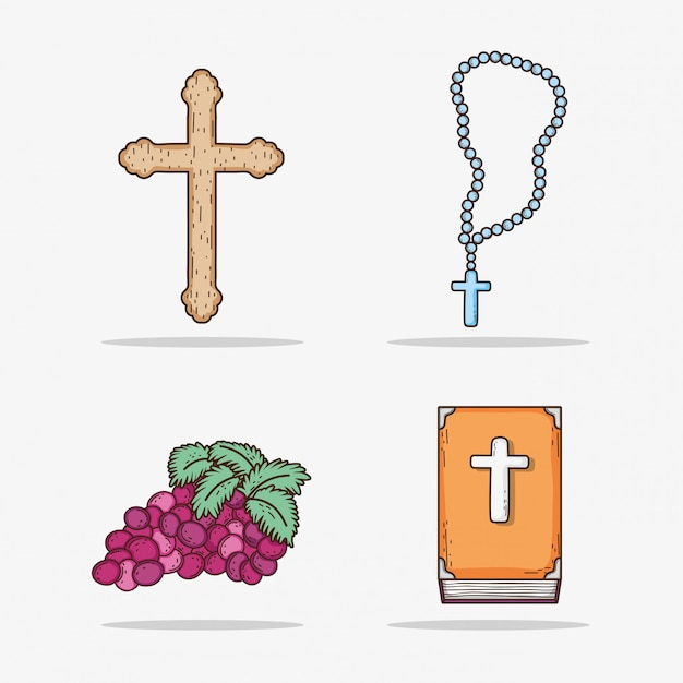 Set cross with rosary and bibble with grape Premium Vector