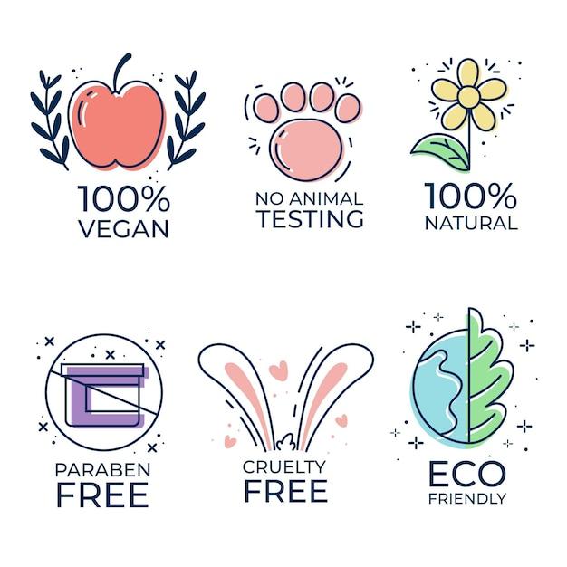 Set di badge cruelty free illustrati Vettore gratuito