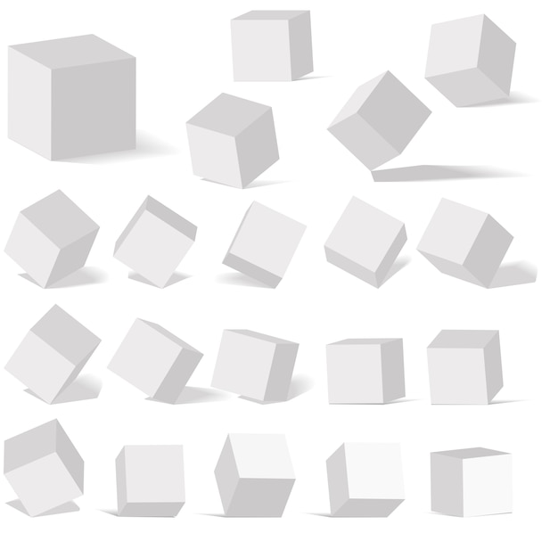 A set of cube icons with a perspective 3d cube model with a shad Premium Vector