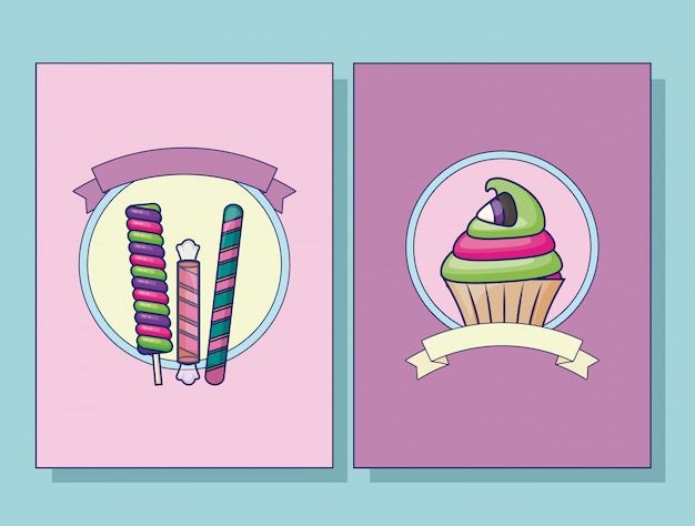 Set of cupcake and candies card set Free Vector