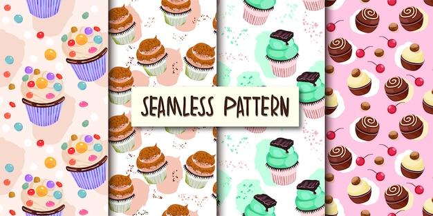 Set of cupcakes seamless pattern Premium Vector