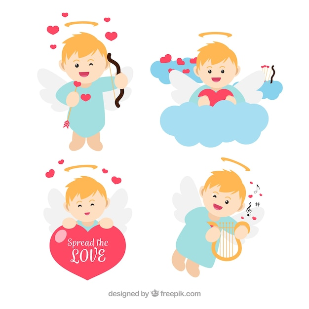 Set of cupid characters Free Vector