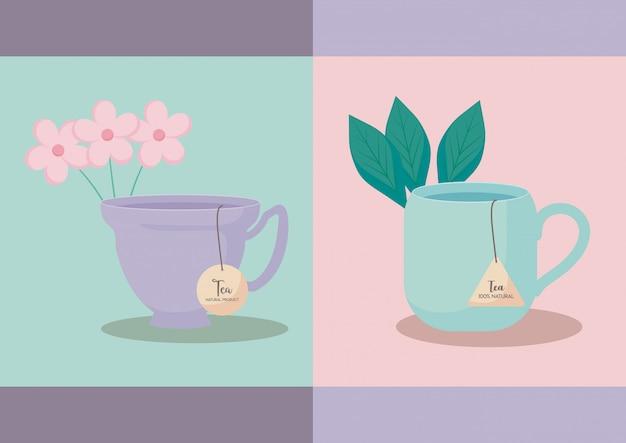 Set of cups tea Premium Vector