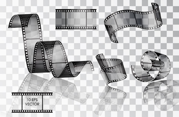 Set of curved photographic film. film.  . twisted film.  slide. movie scenes. a roll of film media. Premium Vector