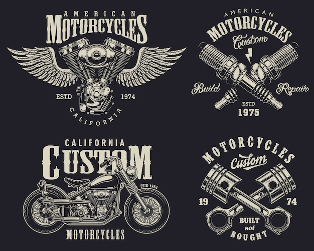 Set of custom motorcycle emblems Premium Vector