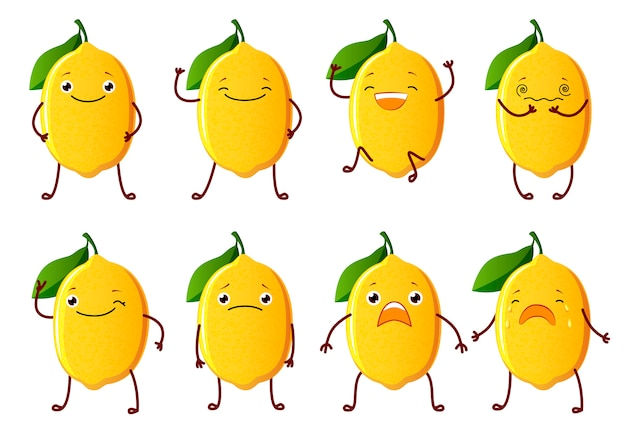 Set cut lemon characters. cute fruit vector characters isolated Premium Vector