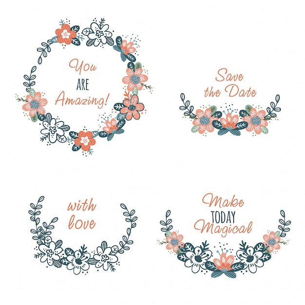 Set of cute abstract flowers wreathes and text Premium Vector