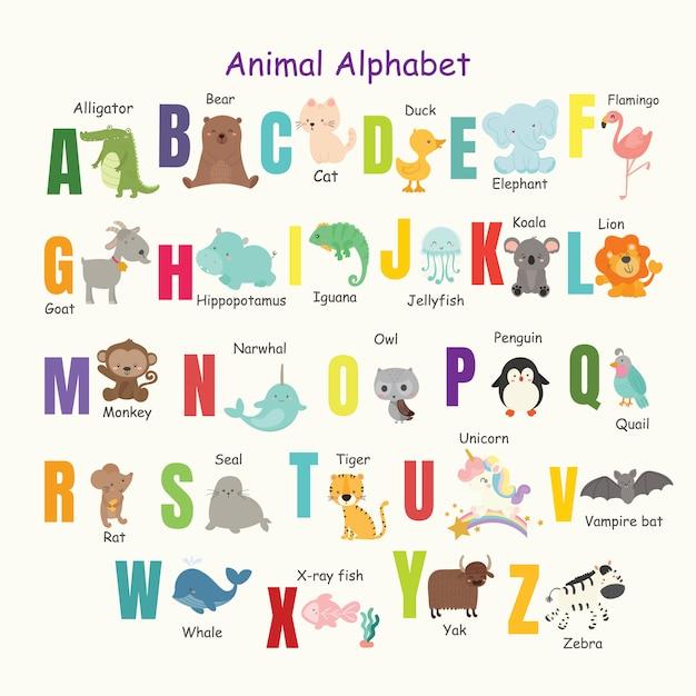 Set of cute animal alphabet. Premium Vector