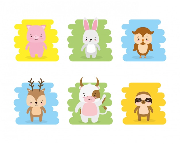 Set of cute animal cartoon and flat style, illustration Free Vector