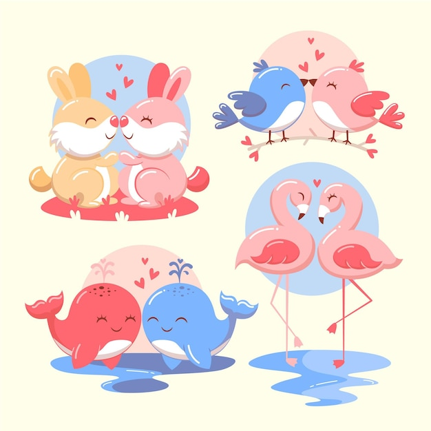 Set of cute animal couples Free Vector