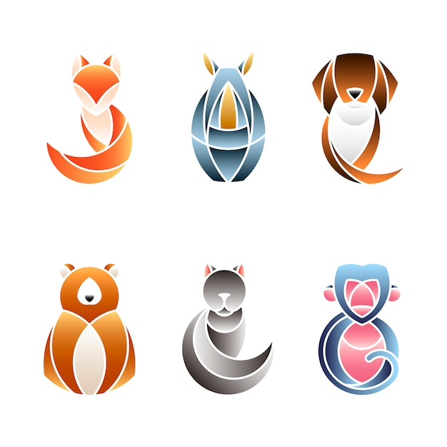 Set of cute animal design vectors Free Vector