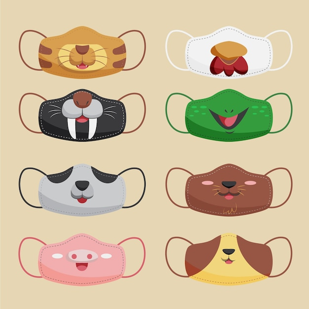 Set of cute animal fabric face masks Free Vector