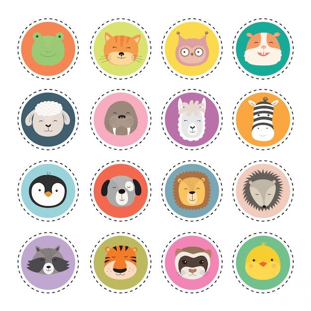 Set cute animal faces stickers. Premium Vector