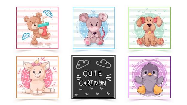 Set cute animals in cards Premium Vector