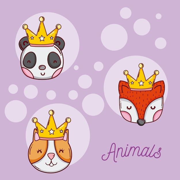 Set Of Cute Animals Cartoons Premium Vector