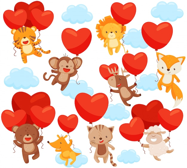 Set of cute animals flying in the sky with heart-shaped balloons. love theme.   elements for postcard Premium Vector