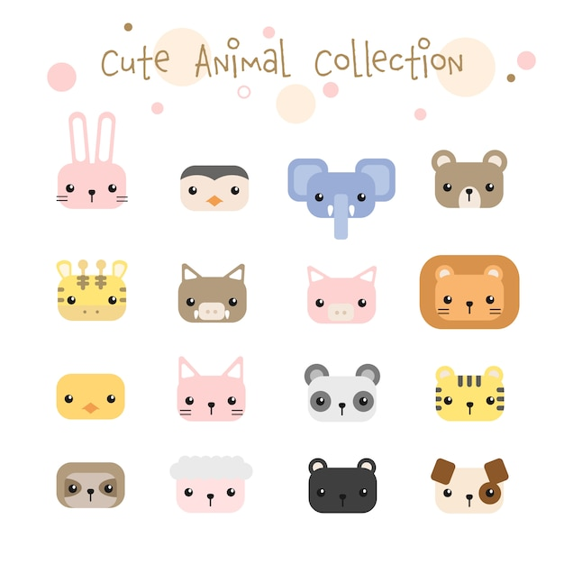 Set of cute animals head pastel cartoon collection Premium Vector