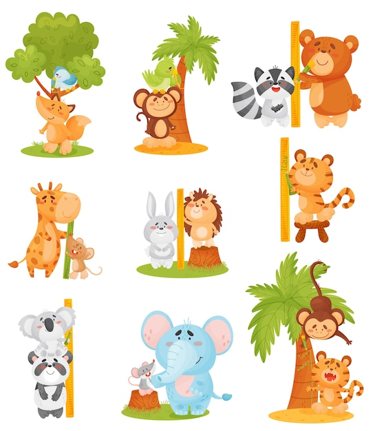 Premium Vector Set Of Cute Animals Measure Growth Near A Tree And A Ruler To get more templates about posters,flyers,brochures,card,mockup,logo,video,sound,ppt small tree growth cartoon illustration. https www freepik com profile preagreement getstarted 10225851