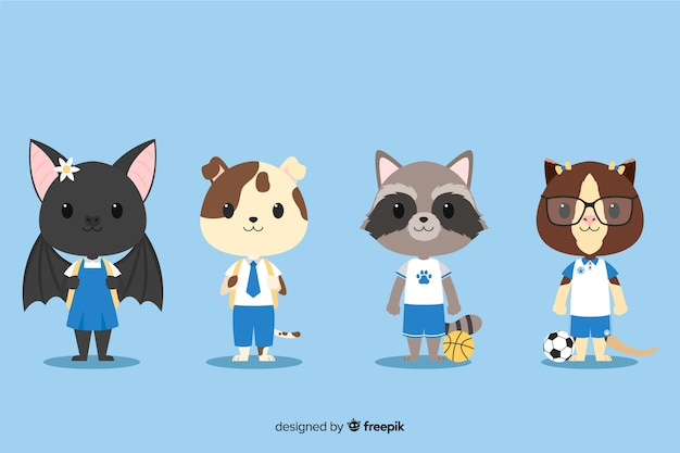Set of cute animals ready to study Free Vector