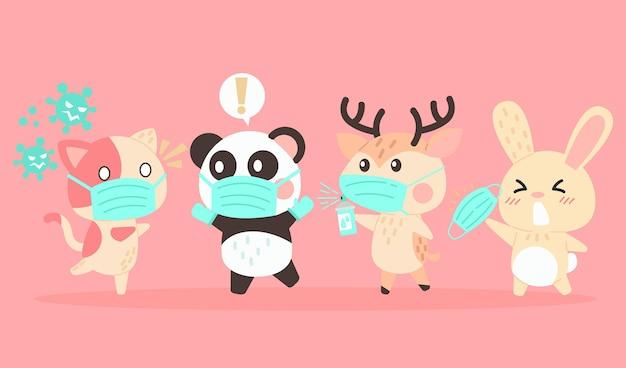 Set of cute animals wearing medical masks Free Vector