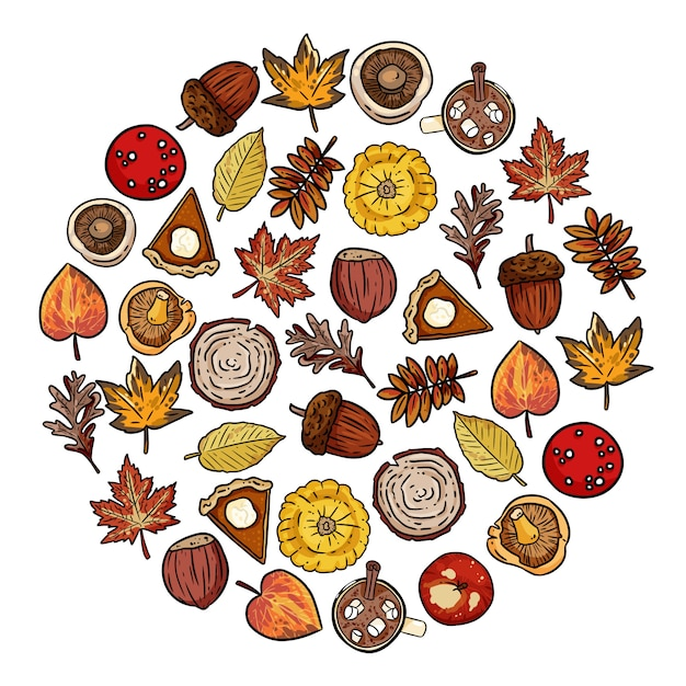 Set of cute autumn elements doodles in a round composition Premium Vector