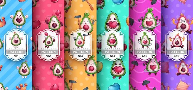 귀여운 아보카도 원활한 패턴 설정 무료 벡터