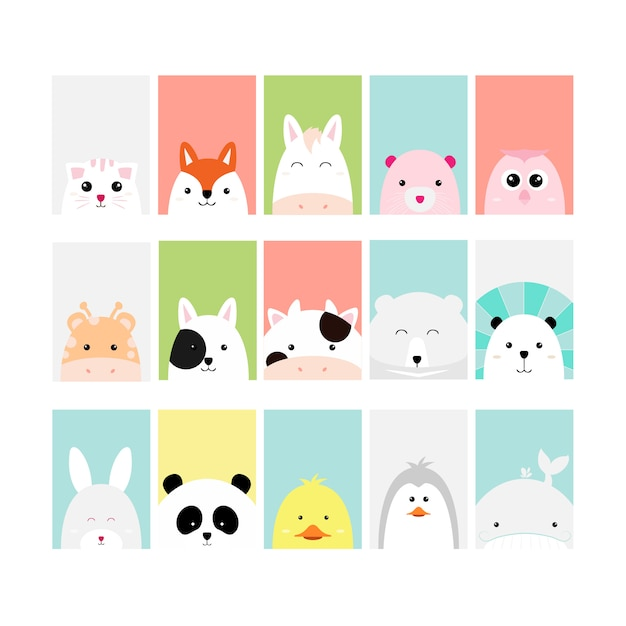 Set cute baby animal card cartoon hand drawn style Premium Vector