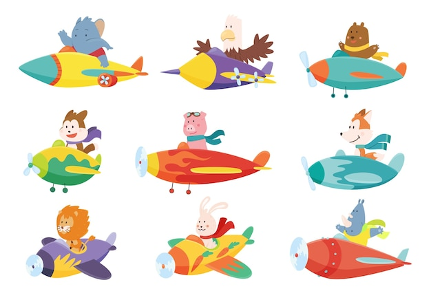Set of cute baby animals elephant eagle bear dog flying on airplanes. Premium Vector