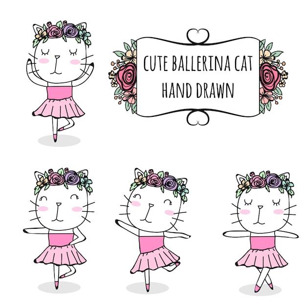 Set of cute ballerina cat hand drawn Premium Vector