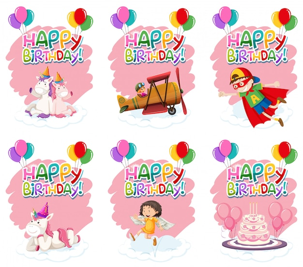 Set of cute birthday icon Free Vector