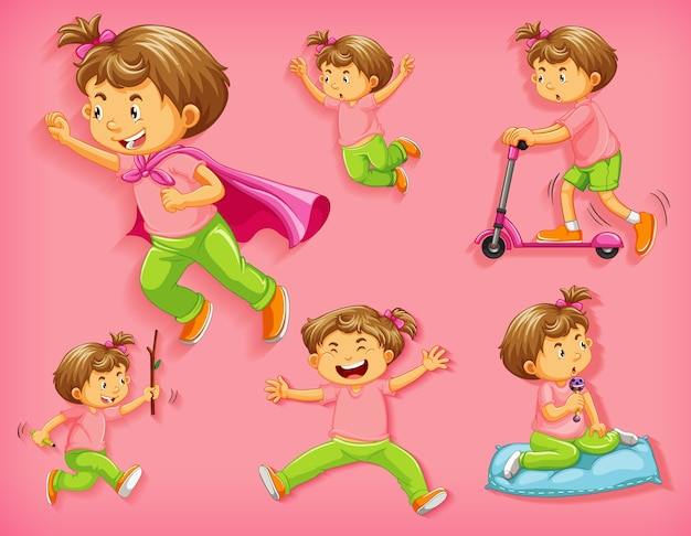 Set of cute boy with different positions isolated Free Vector